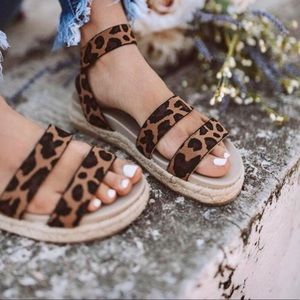 Shoes - 5 Star LEOPARD LOW SOLE WEDGE ESPADRILLE- Shoe